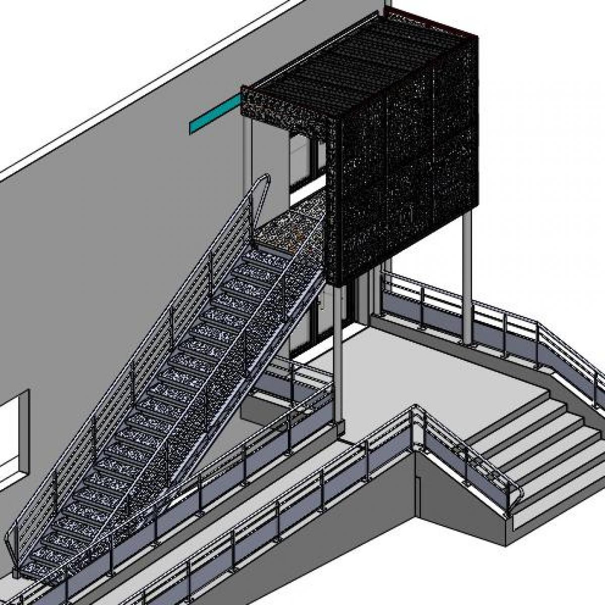 Plan 3D de l'entrée avec accessibilité PMR<br>