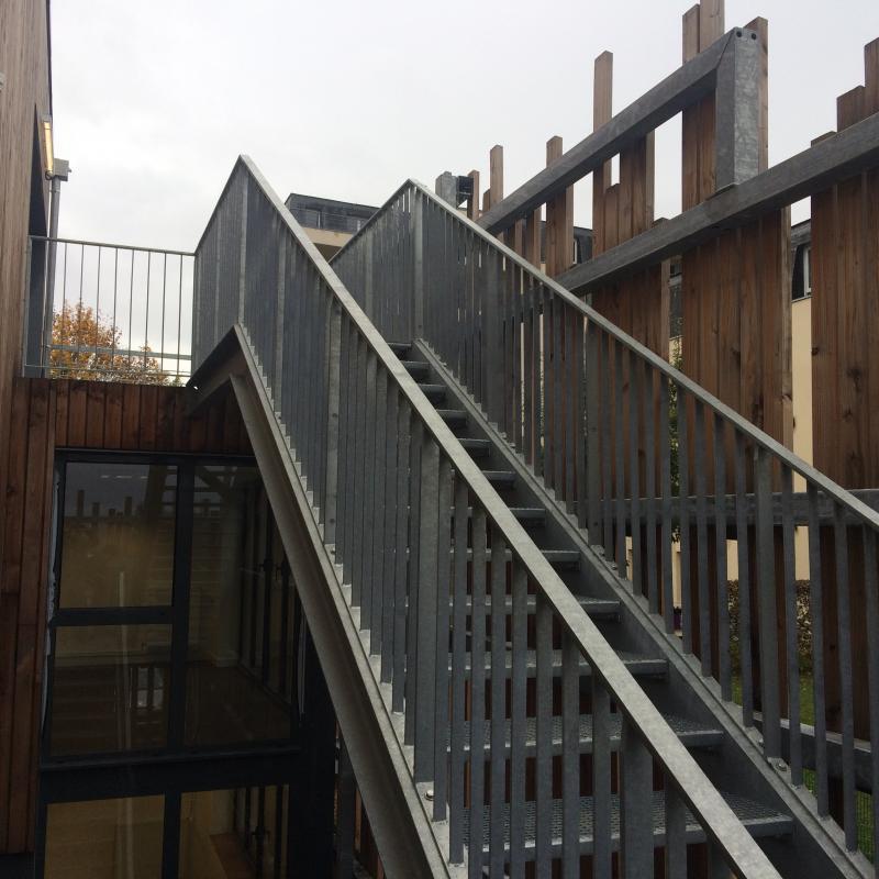 Escalier métallique réalisé par la Métallerie AMCI