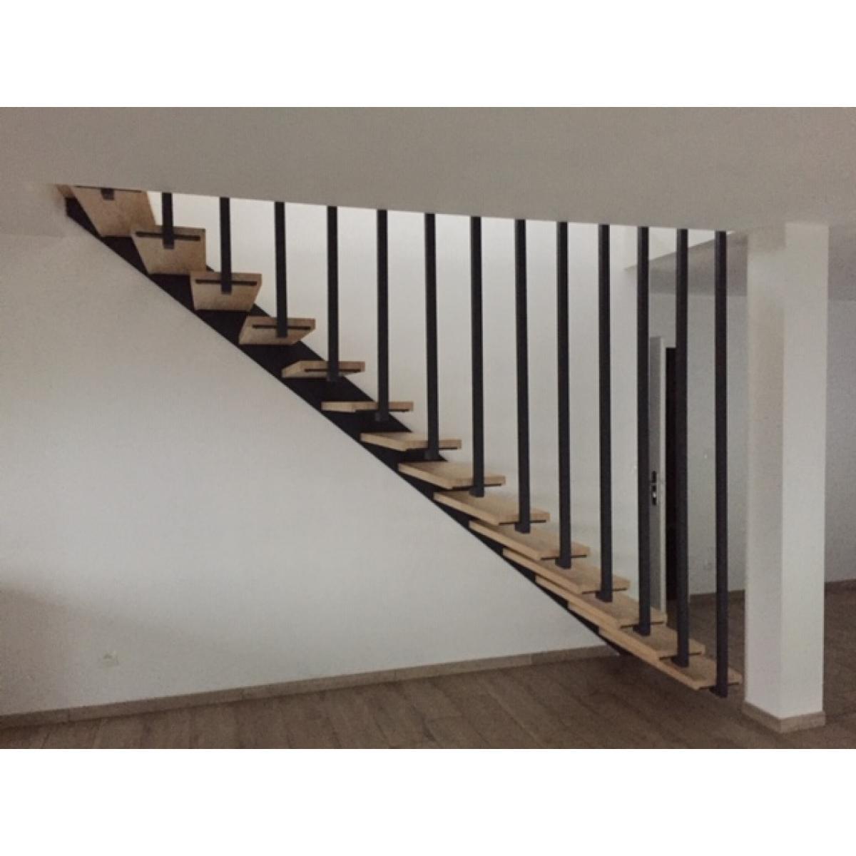 Escalier autoportant bois et acier